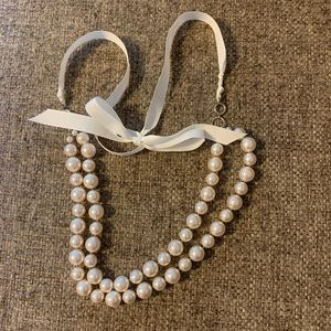 Faux pearl and ribbon necklace